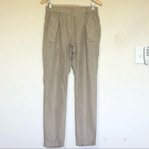 EDUN Beige Silk Women's Pants Sz 2/26